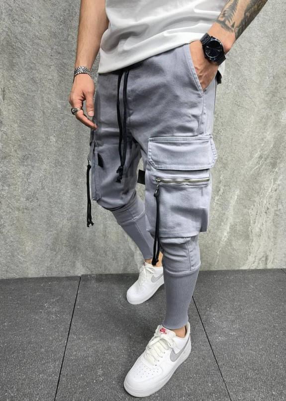 Изображение Брюки серые спортивные с затяжками на карманах MFStore
