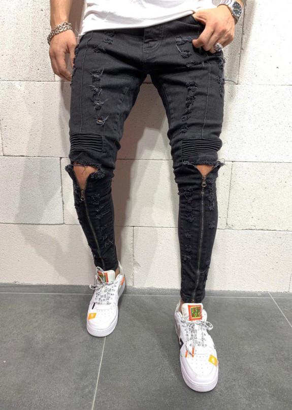 Изображение Джинсы с молниями до колена и рифлеными вставками MFStore