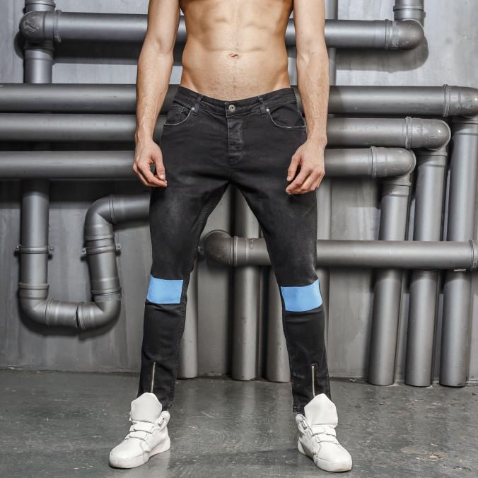 Изображение Джинсы с голубыми вставками на коленях Mfstore