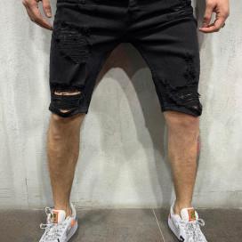 Изображение Шорты джинсовые рваные черные MFStore