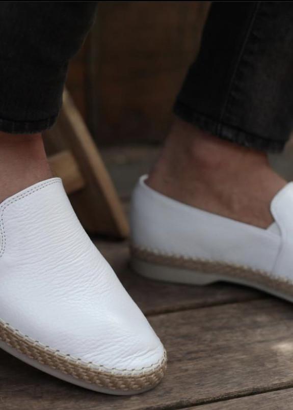 Изображение Слипоны мужские кожаные белые Mfstore