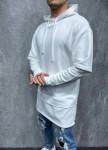 Изображение Оверсайз худи с капюшоном и молниями по бокам белое MFStore