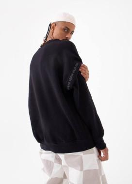 Изображение Свитшот оверсайз с принтом на рукаве черный MFStore