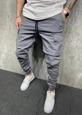 Изображение Брюки спортивные серые с карманами над просроченными вставками MFStore
