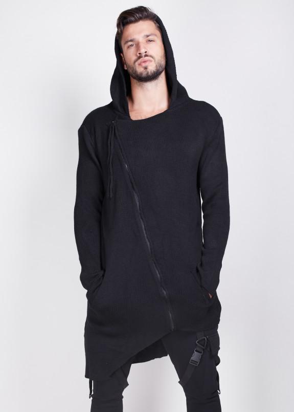 Изображение Кардиган черный с косой молнией и вставкой на ней MFStore