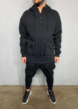 Изображение Кофта с накладными карманами и молнией на горле MFStore