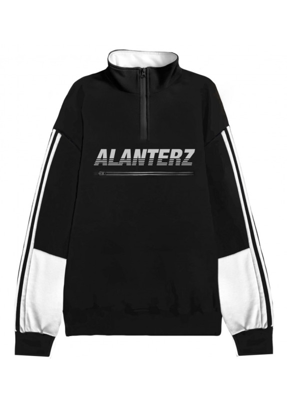 Изображение Кофта мужская Basic 1/4 Zip Reflective Oversized Black Sweatshirt