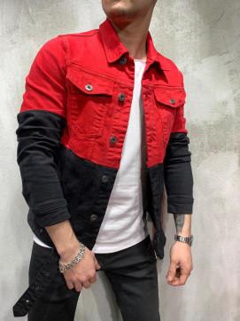Изображение Джинсовка двухцветная красно-черная MFStore