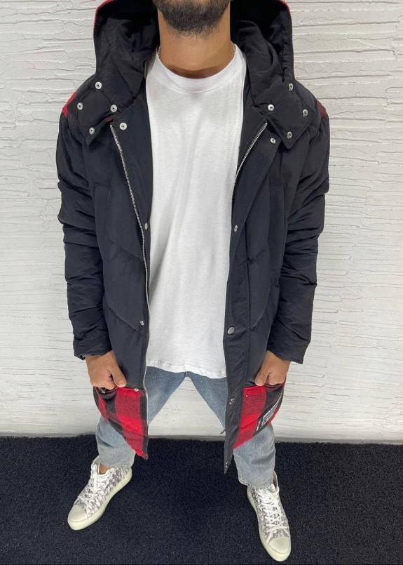 Изображение Парка мужская с клетчатой вставкой снизу и капюшоном черная MFStore