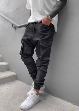 Изображение Джоггеры мужские с накладными карманами черные Mfstore