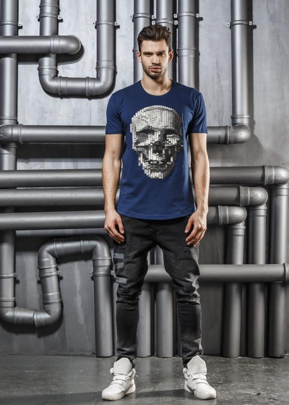 Изображение Футболка синяя с детализированным черепом Mfstore