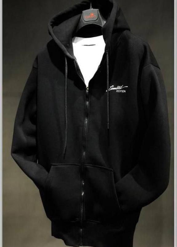 Изображение Худи оверсайз на молнии черное с принтом на спине MFStore