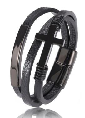 Изображение Браслет Steel Cross кожа и сталь черный fashion