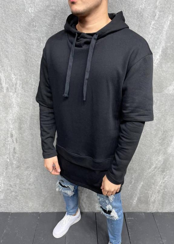 Изображение Оверсайз худи с капюшоном и молниями по бокам черное MFStore