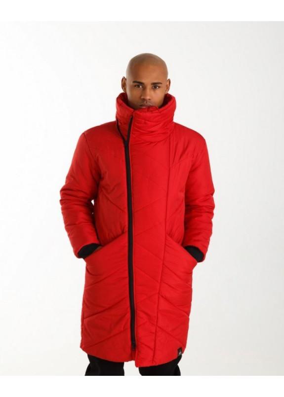 Изображение Пуховик мужской с высоким горлом красный