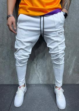 Изображение Джоггеры белые с полосками по бокам MFStore
