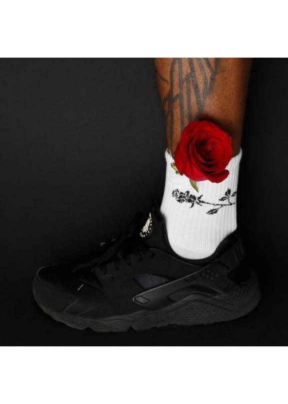 Изображение Носки мужские принт Роза белые