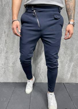 Изображение Брюки синие текстильные с косой молнией MFStore