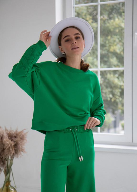 Изображение Костюм зеленый тройка с штанами клеш