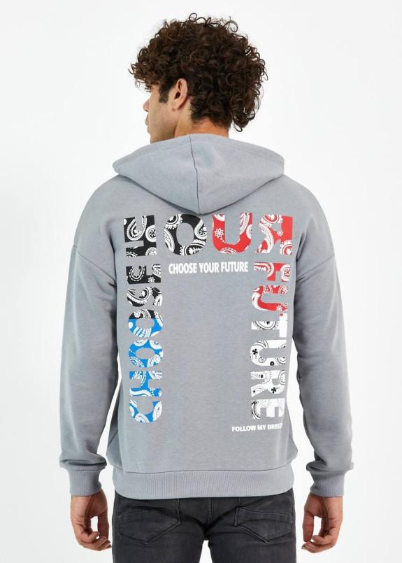 Изображение Худи мужское с принтами на груди и спине серое MFStore