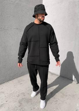 Изображение Удлиненный дизайнерский свитшот черный Mfstore