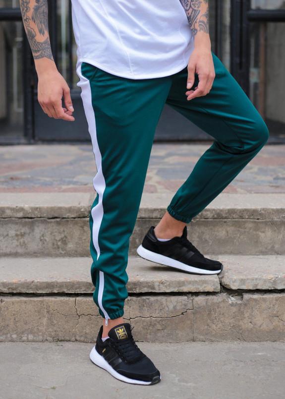 Изображение Спортивные штаны мужские зеленые с белой полоской Рокки Tur streetwear