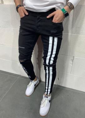 Изображение Зауженные джинсы с вертикальными белыми полосами