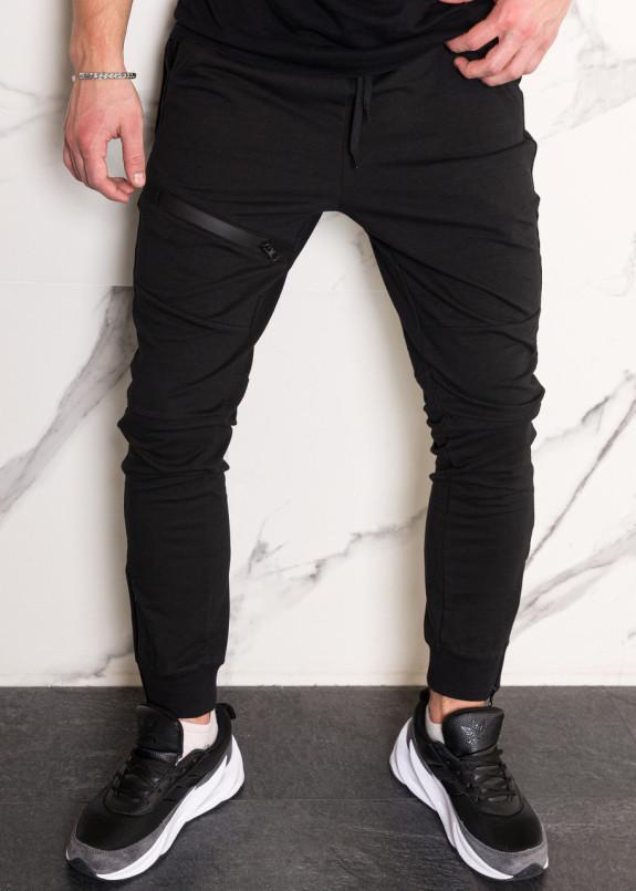 Изображение Спортивные штаны мужские черные с манжетом на молнии Феникс