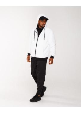 Изображение Куртка мужская плюшевая с капюшоном белая