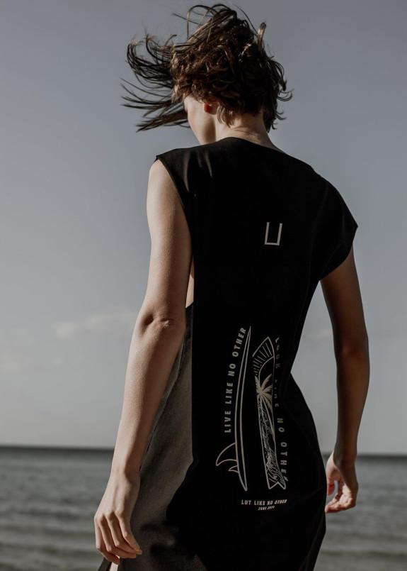 Изображение Майка унисекс черная с принтом на спине