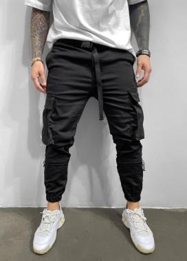 Изображение Брюки спортивные с накладными карманами по бокам на затяжках ниже колена MFStore