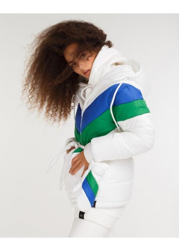 Изображение Пуховик с варежками - белый/синий/зеленый