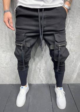 Изображение Брюки черные спортивные с затяжками на карманах MFStore