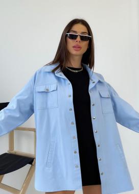 Изображение Джинсовая рубашка из плотного коттона