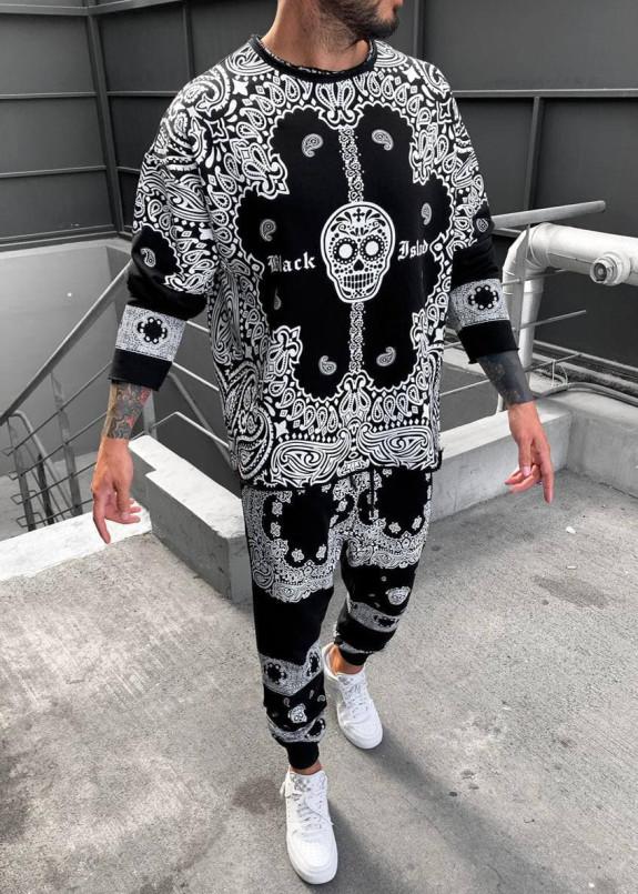 Изображение Костюм мужской с принтом орнамента и черепом Mfstore