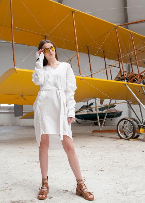 Изображение Платье-рубашка белая с манжетами