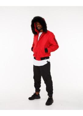 Изображение Куртка мужская с капюшоном красная