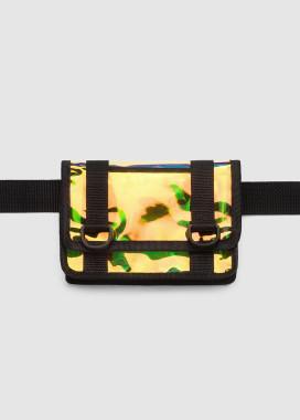 Изображение Маленькая сумка на пояс клатч желтого цвета с отливом