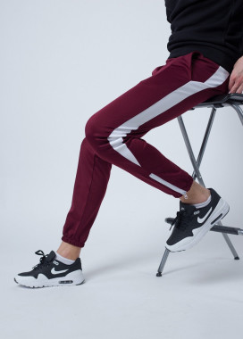 Изображение Спортивные штаны мужские бордовые с лампасами Рокки Tur streetwear