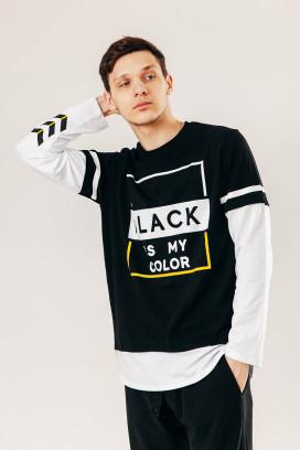Изображение Лонгслив black is my color Street style