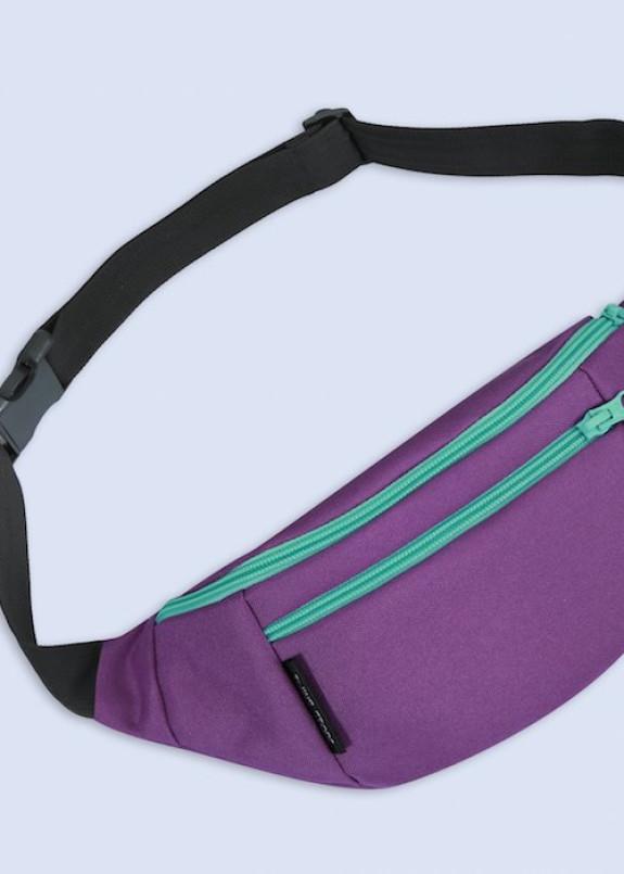 Изображение Бананка текстильная с бирюзовыми молниями фиолетовая Twins Store