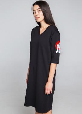 Изображение Платье-футболка женское черное Хидеко