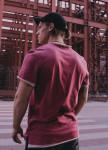 Изображение Футболка базовая бордовая с бежевым карманом