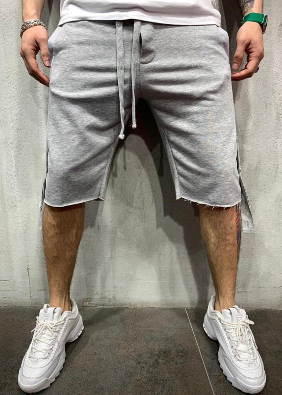 Изображение Шорты дизайнерские с карманом сзади серые MFStore
