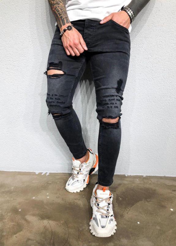 Изображение Джинсы с дырками и вышивкой серые MFStore