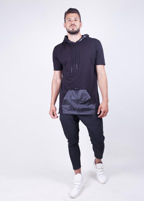 Изображение Черная удлиненная безрукавка с карманом MFStore