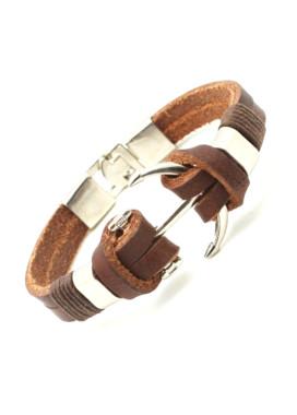 Изображение Браслет кожаный с якорем Fashion