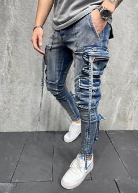 Изображение Дизайнерские джинсы карго синие MFStore