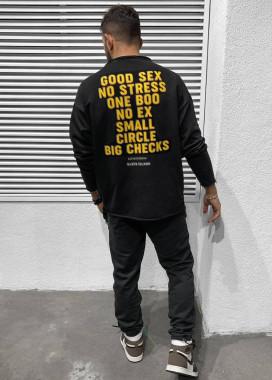 Изображение Кофта оверсайз мужская с принтом good sex черная MFStore