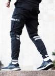 Изображение Зауженные карго штаны черные на липучках с рефлектом Райот